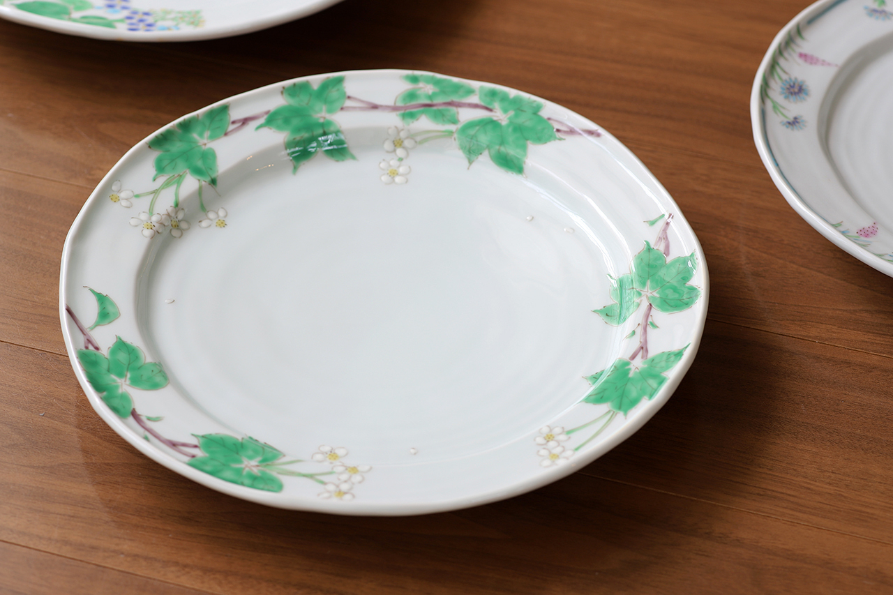 藍水 ハクサンイチゲ 8寸皿 うつわ藍水 波佐見焼 直径約25cmのプレート