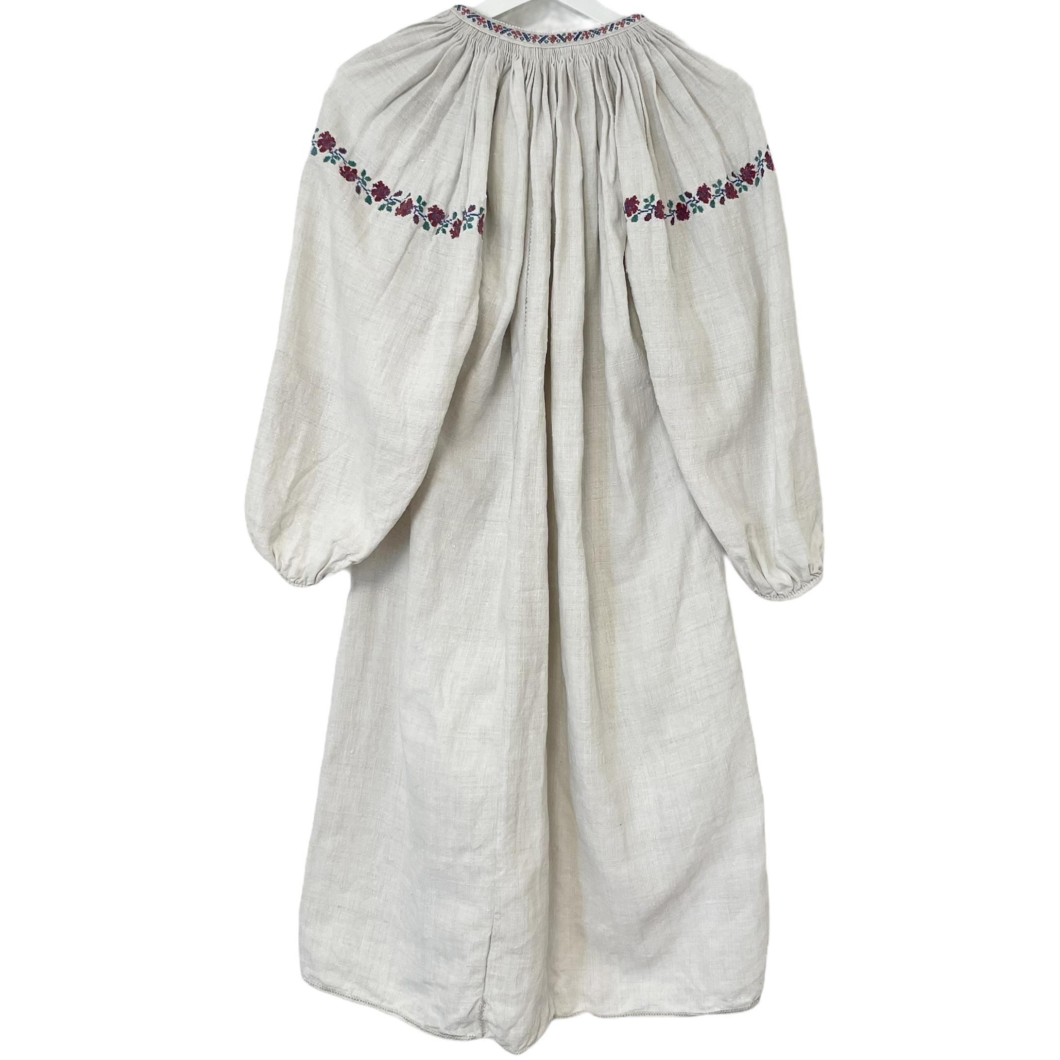 6 Ukrainian Embroidered Linen Dress