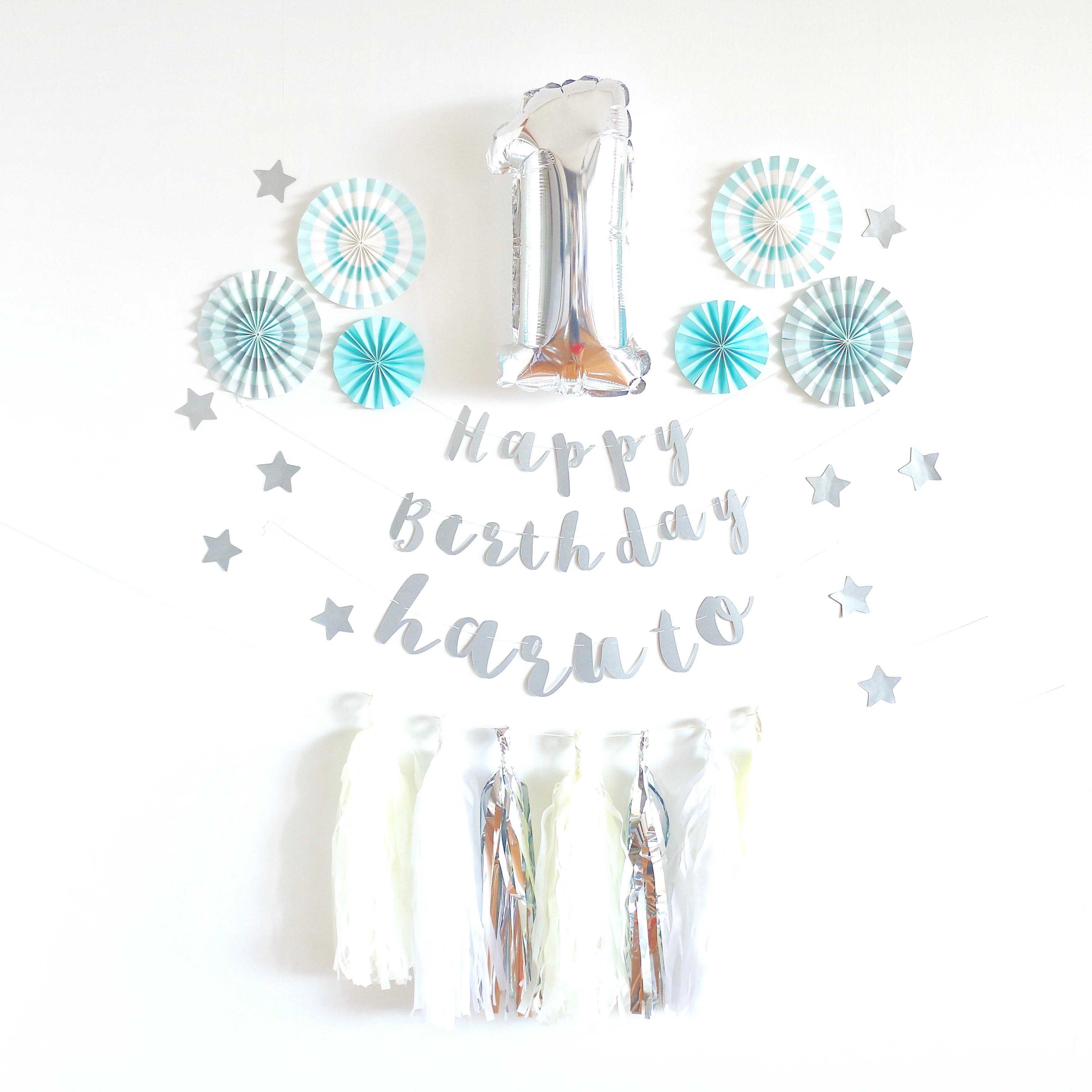 バースデーデコレーションキット(クリームソーダ・バルーンなし) 誕生日 ガーランド 飾り付け