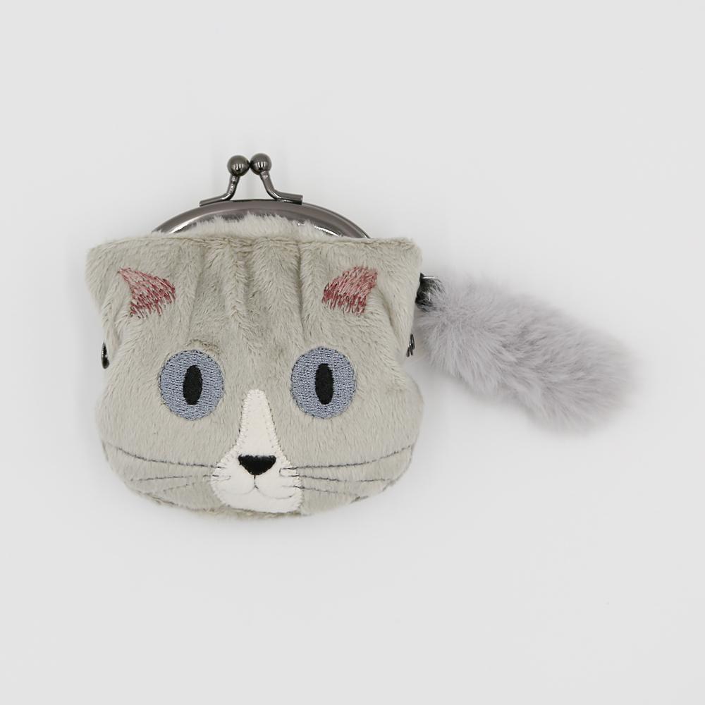 猫小銭入れ(ファミネコ小銭入れ)グレー