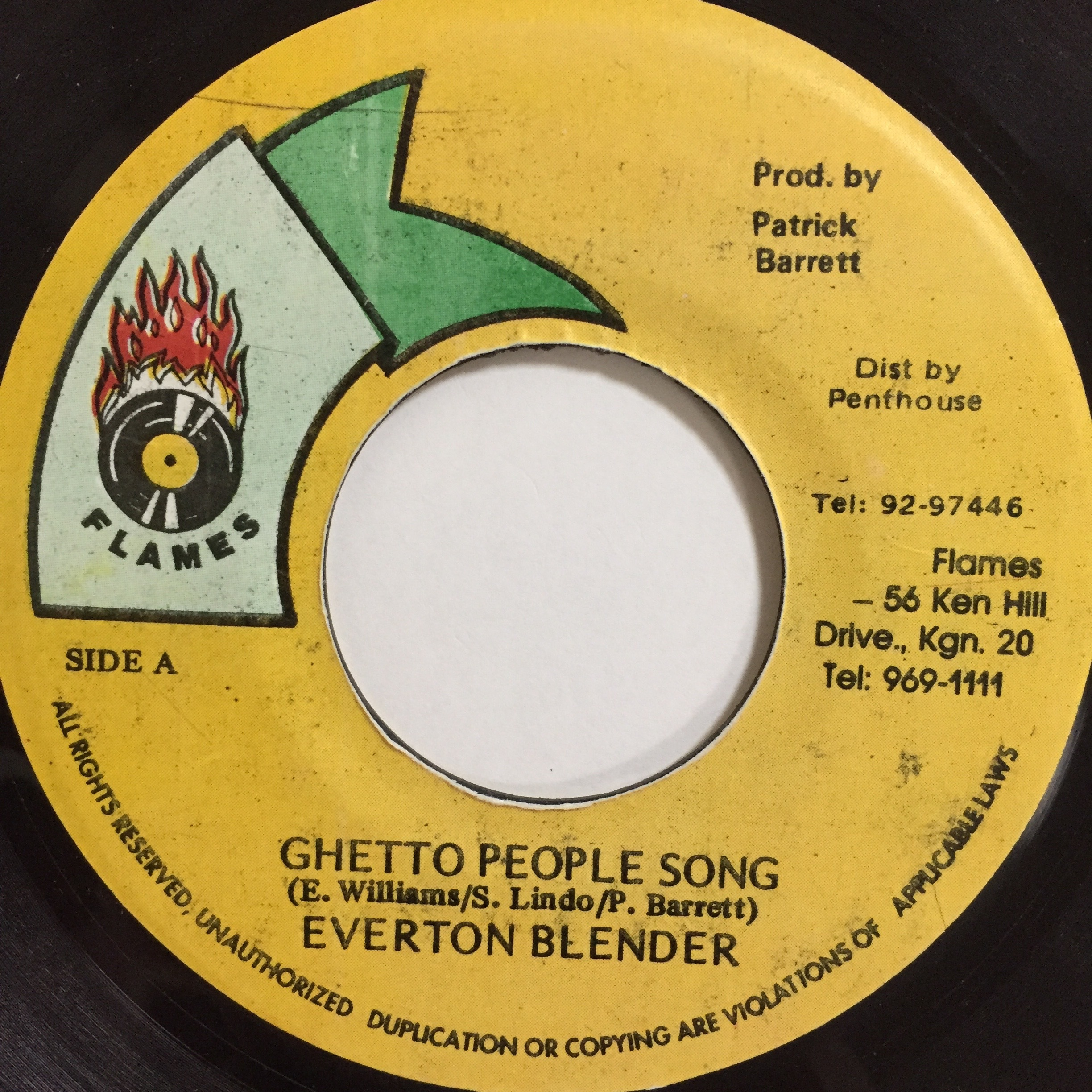 Everton Blender(エヴァートンブレンダー) - Ghetto People Song【7'】