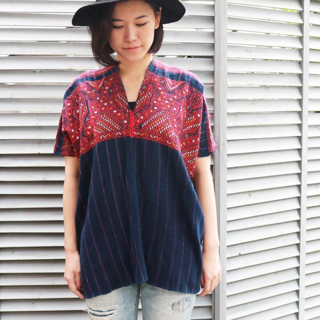 【SALE 30%off】赤い織り柄ウィピル / GUATEMALA グアテマラ
