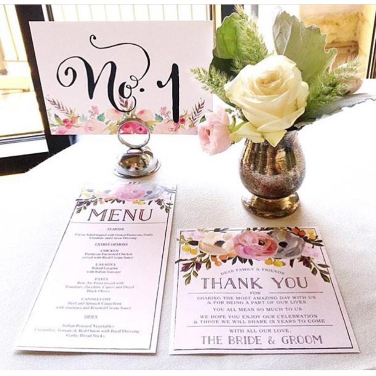 【Sweet Blooms】ゲストが何名でもこの値段♥︎自分で作る海外風ウェディングメニュー表キット│結婚式