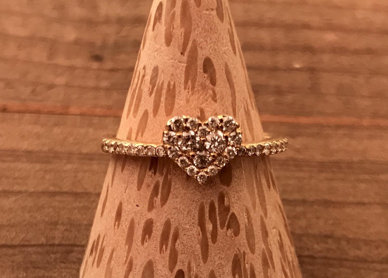 K18 0.3ct ダイヤモンド ハートリング