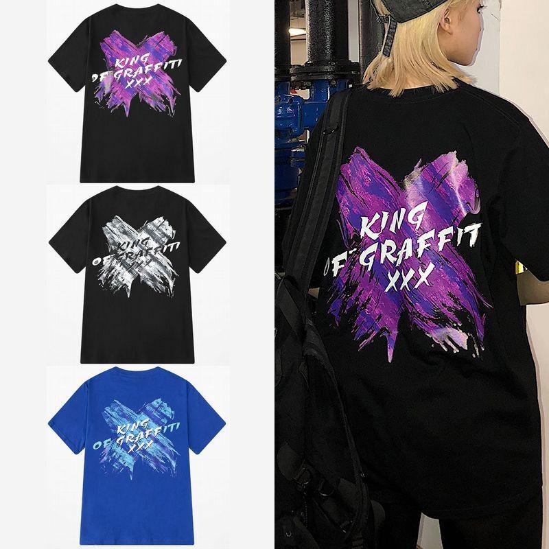 ユニセックス 半袖 Tシャツ メンズ レディース ペイント風 × バツ プリント オーバーサイズ 大きいサイズ ルーズ ストリート