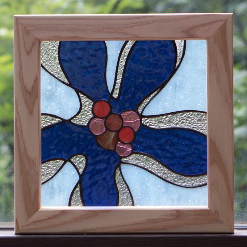 フローラブルー(ステングラスのアートパネル) 03050103