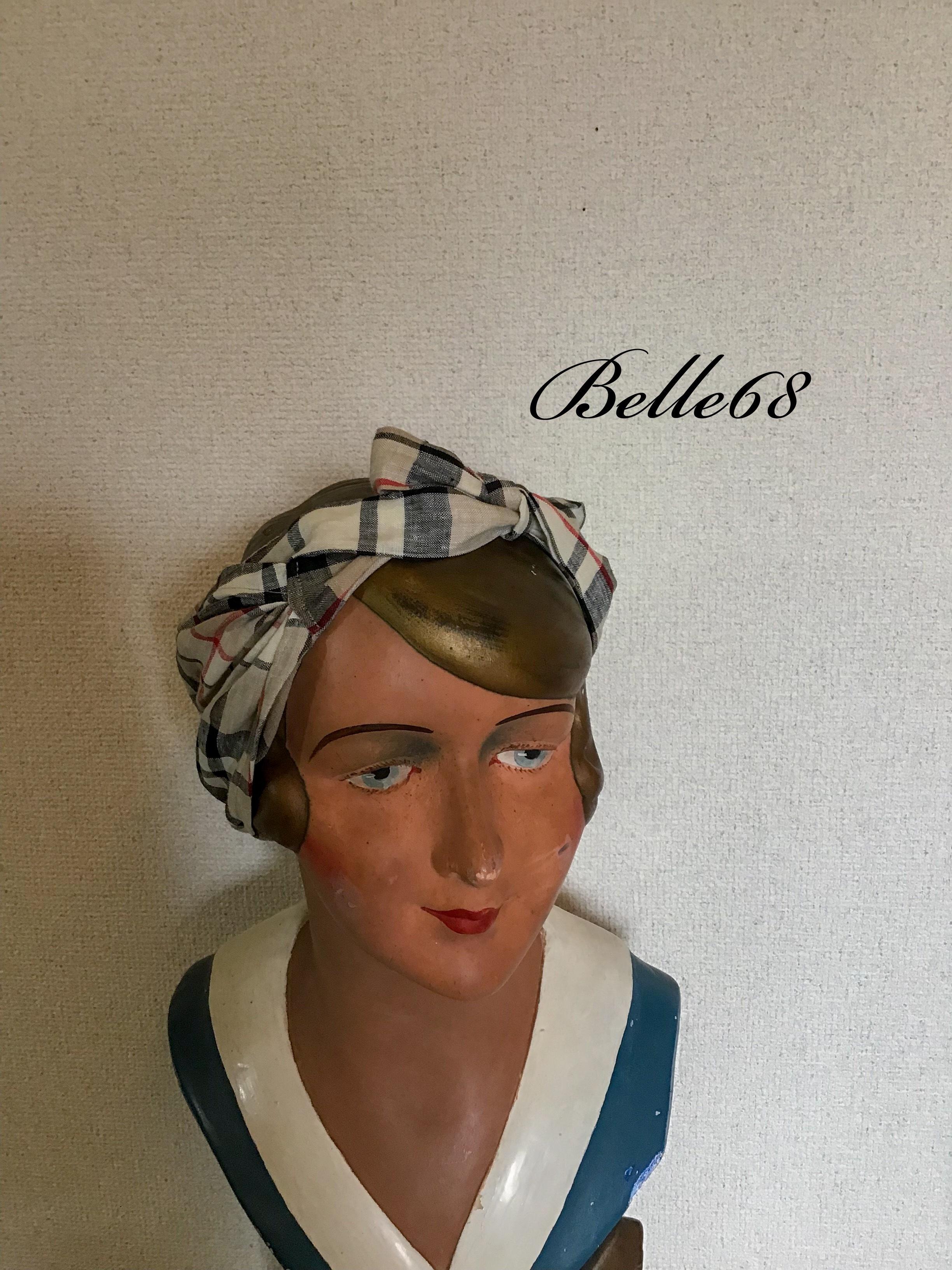 予約販売 リネン バイアス幅広ヘッドスカーフ  バブーシュカ