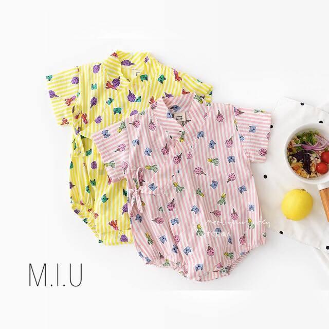 ポップストライプ浴衣風ロンパース #MIU566