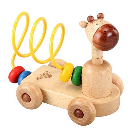 木のおもちゃ Play Me Toy プレイミートイズ社 ベビールールー 木製 車のおもちゃ きりん