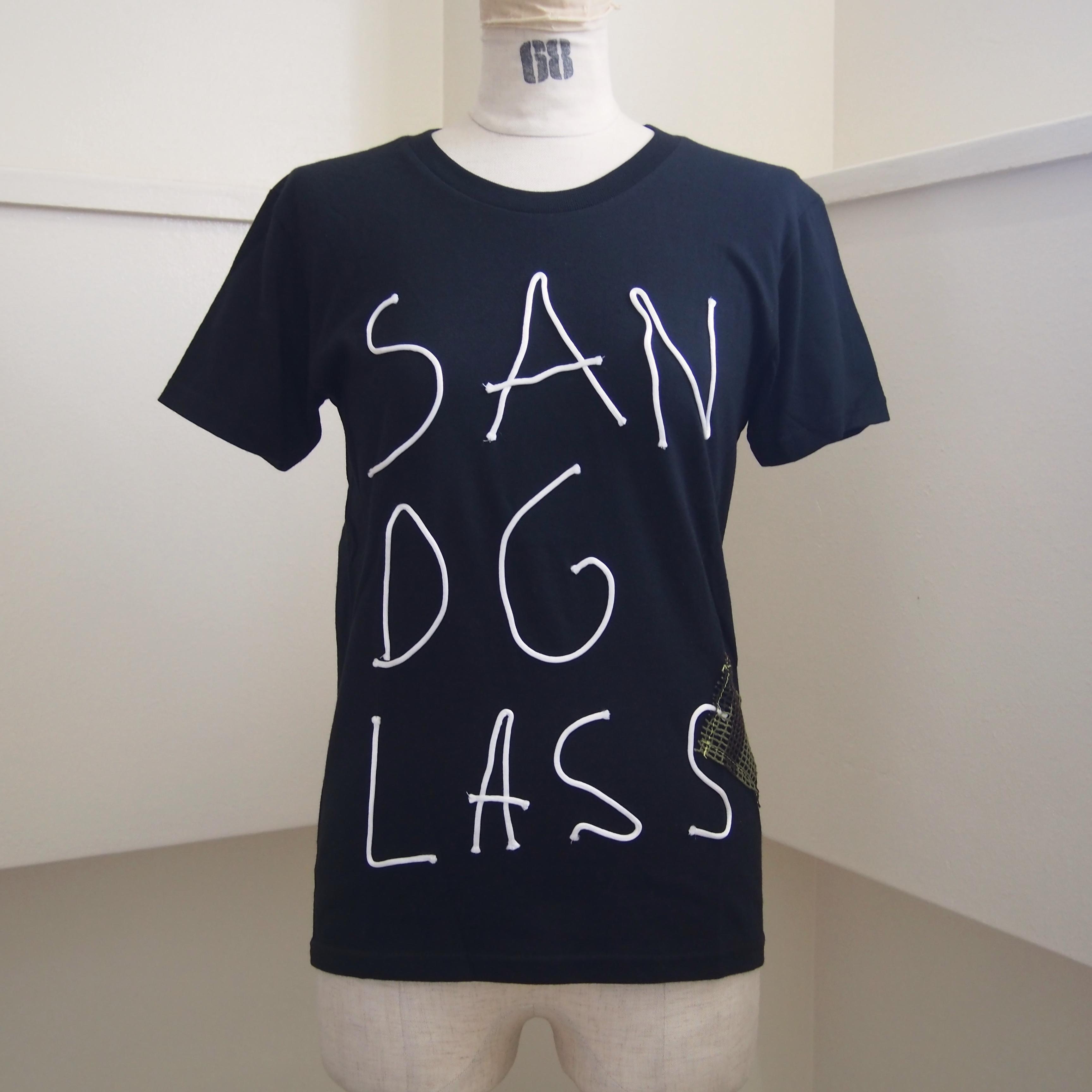 【sandglass】cord T-shirt (black) / 【サンドグラス】コードTシャツ(ブラック)