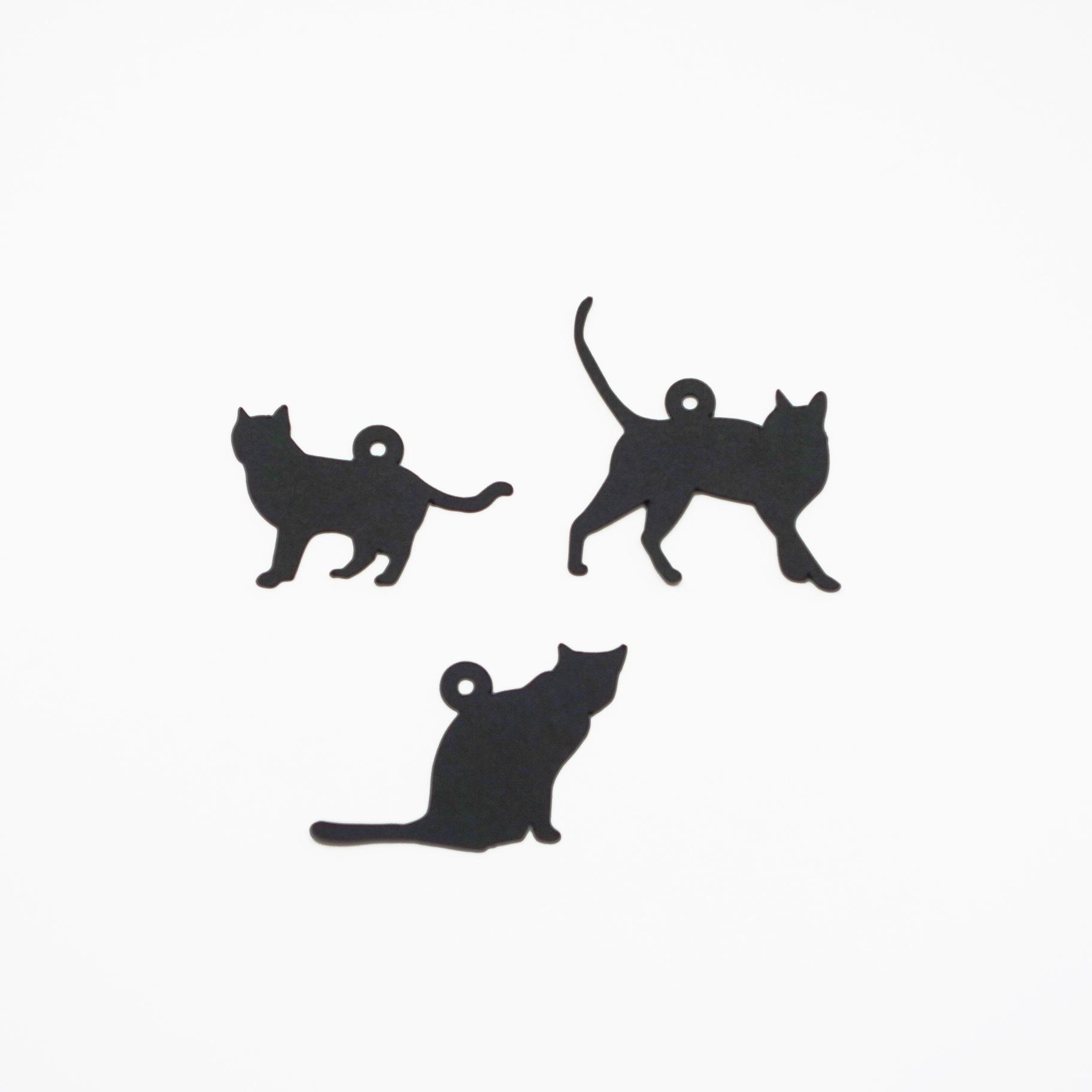 猫型タグ 黒 15枚入(3シルエット×5枚)