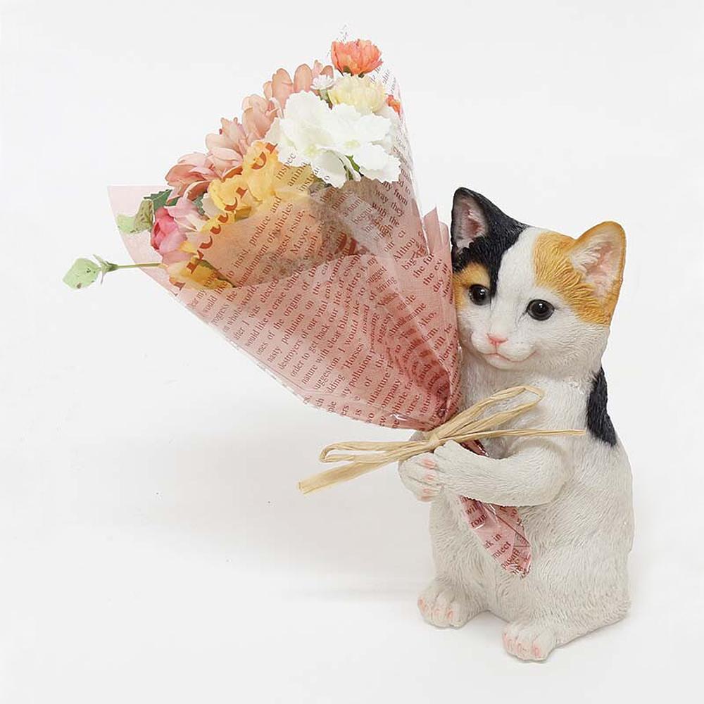 猫オブジェ(CTミニョンブーケねこ)ミケ