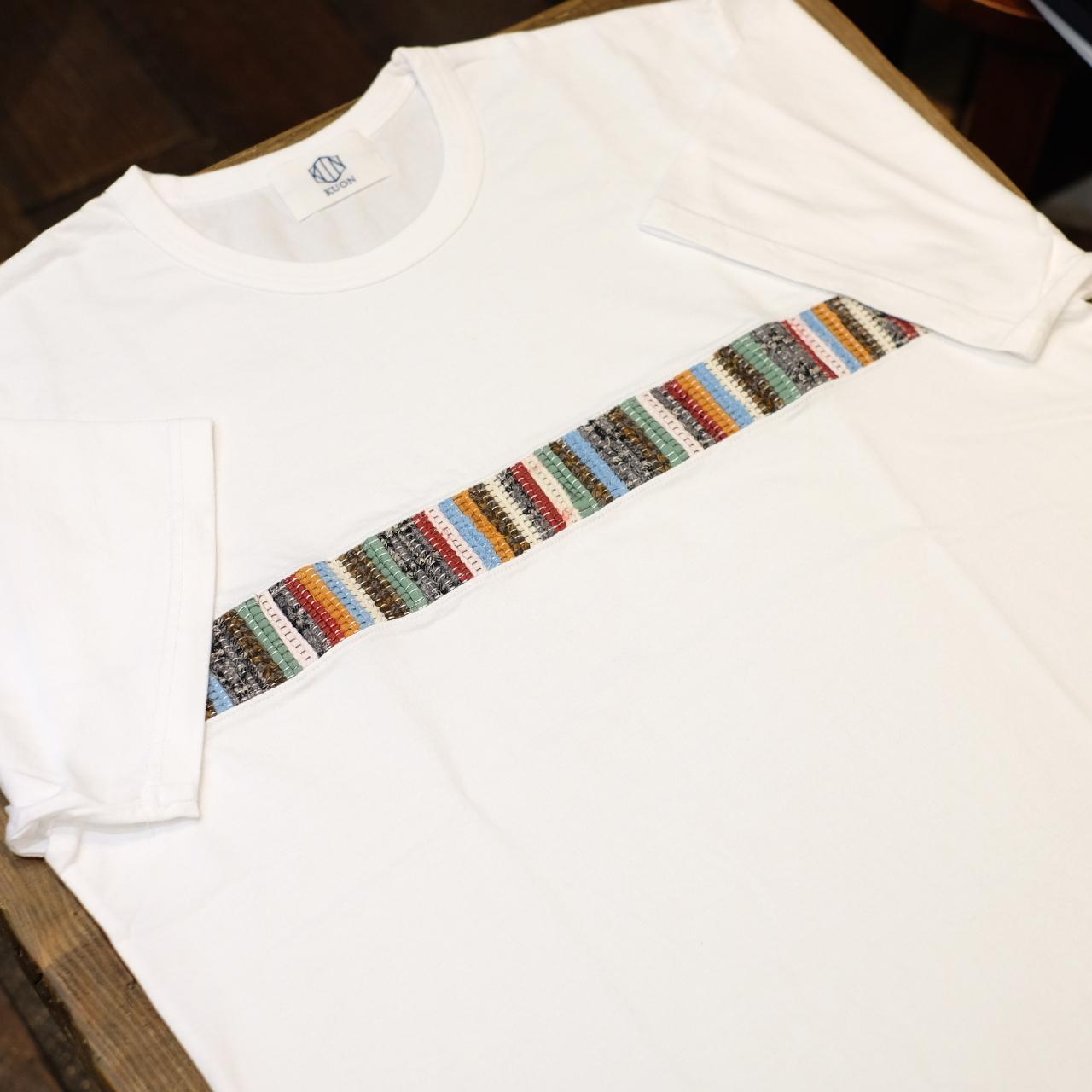 KUON(クオン) ライン裂き織りTシャツ ホワイト