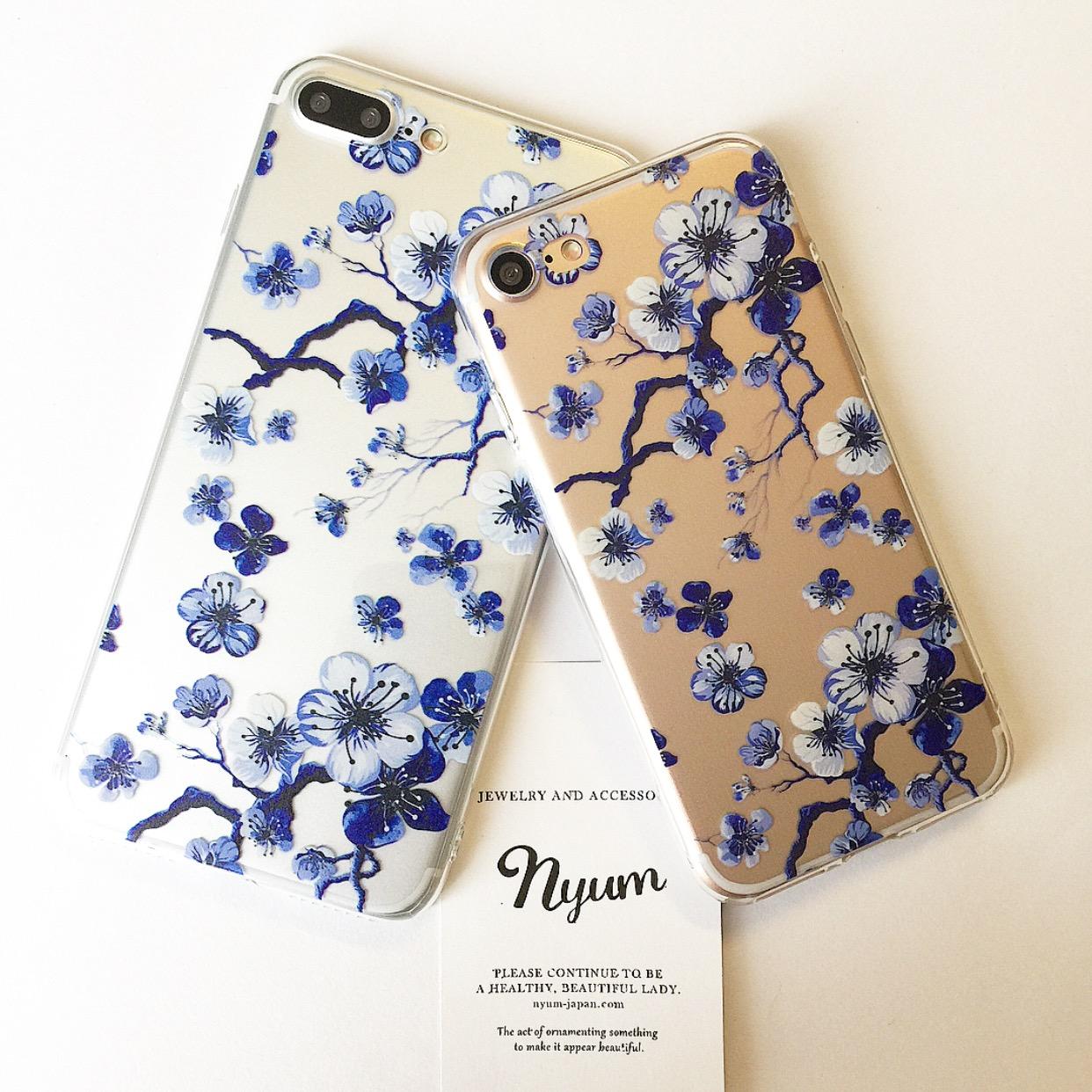 【iphone7/8/7plus/8plus】ブルーフラワー柄iphoneケース 花柄