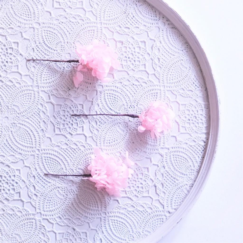 〖 ピンク・アナベルアジサイのヘッドドレスパーツ3本 〗お好きなプリザ花材をカスタムメイドでお作り致します