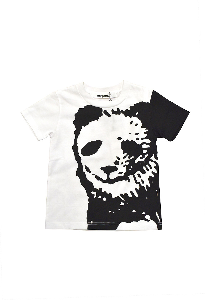 my panda / close-up パンダTシャツ(kid's) / White×Black