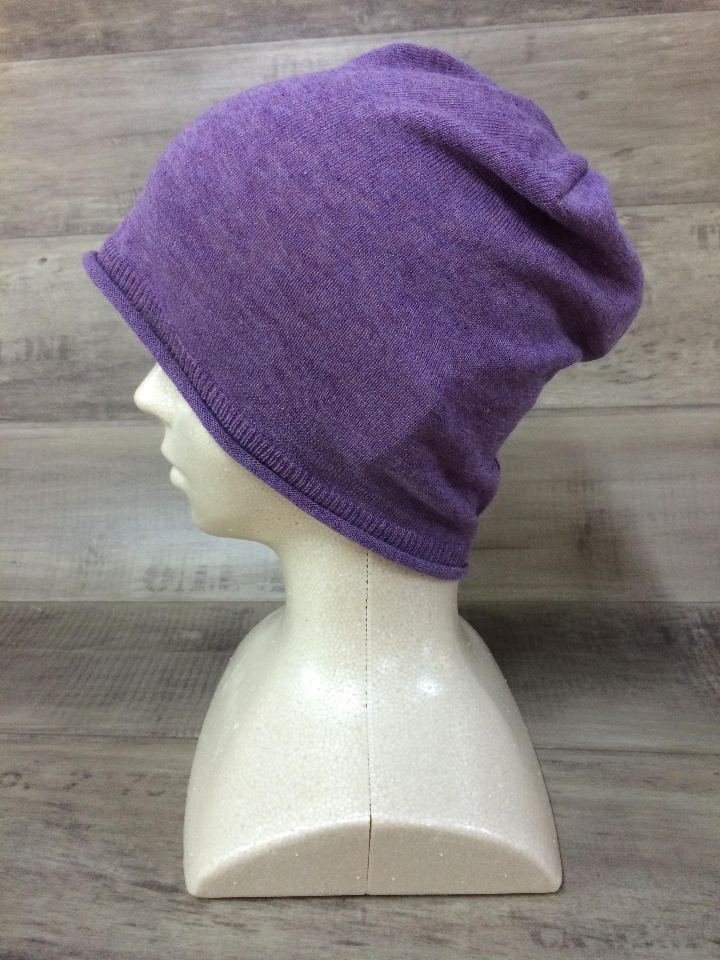 【送料無料】こころが軽くなるニット帽子amuamu|新潟の老舗ニットメーカーが考案した抗がん治療中の脱毛ストレスを軽減する機能性と豊富なデザイン NB-6058|紫芋 <オーガニックコットン アウター>