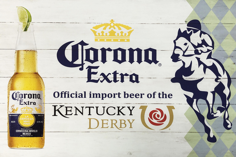 品番0408 サインボード 『Corona extra kentucky derby(コロナ エクストラ ケンタッキー ダービー)』  看板 木製 パネル ディスプレイ アメリカン雑貨
