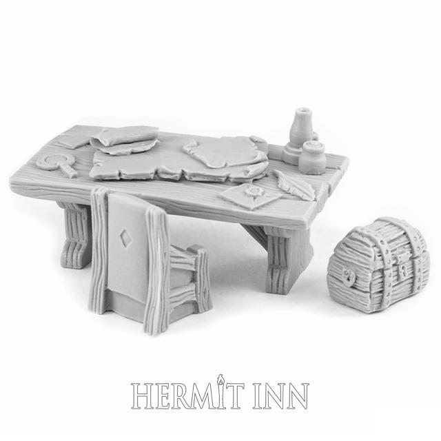 地図のある机(椅子と宝箱付き) - 画像1