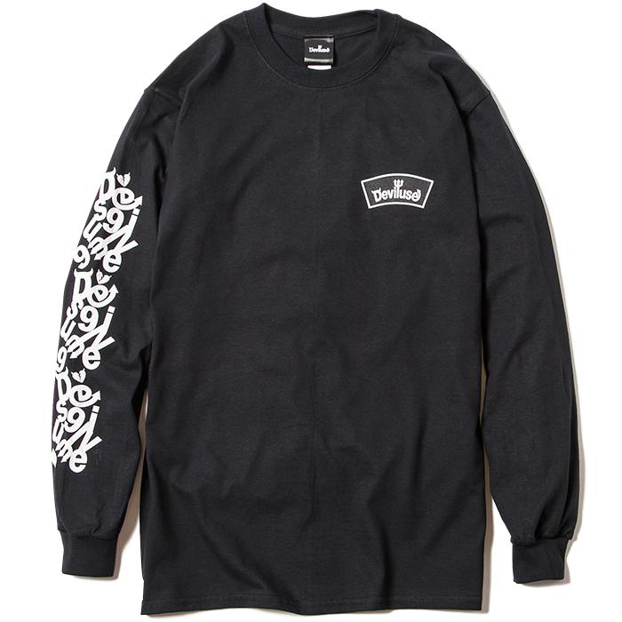 【Deviluse | デビルユース】 ROUND LOGO L/S T-shirts(Black)