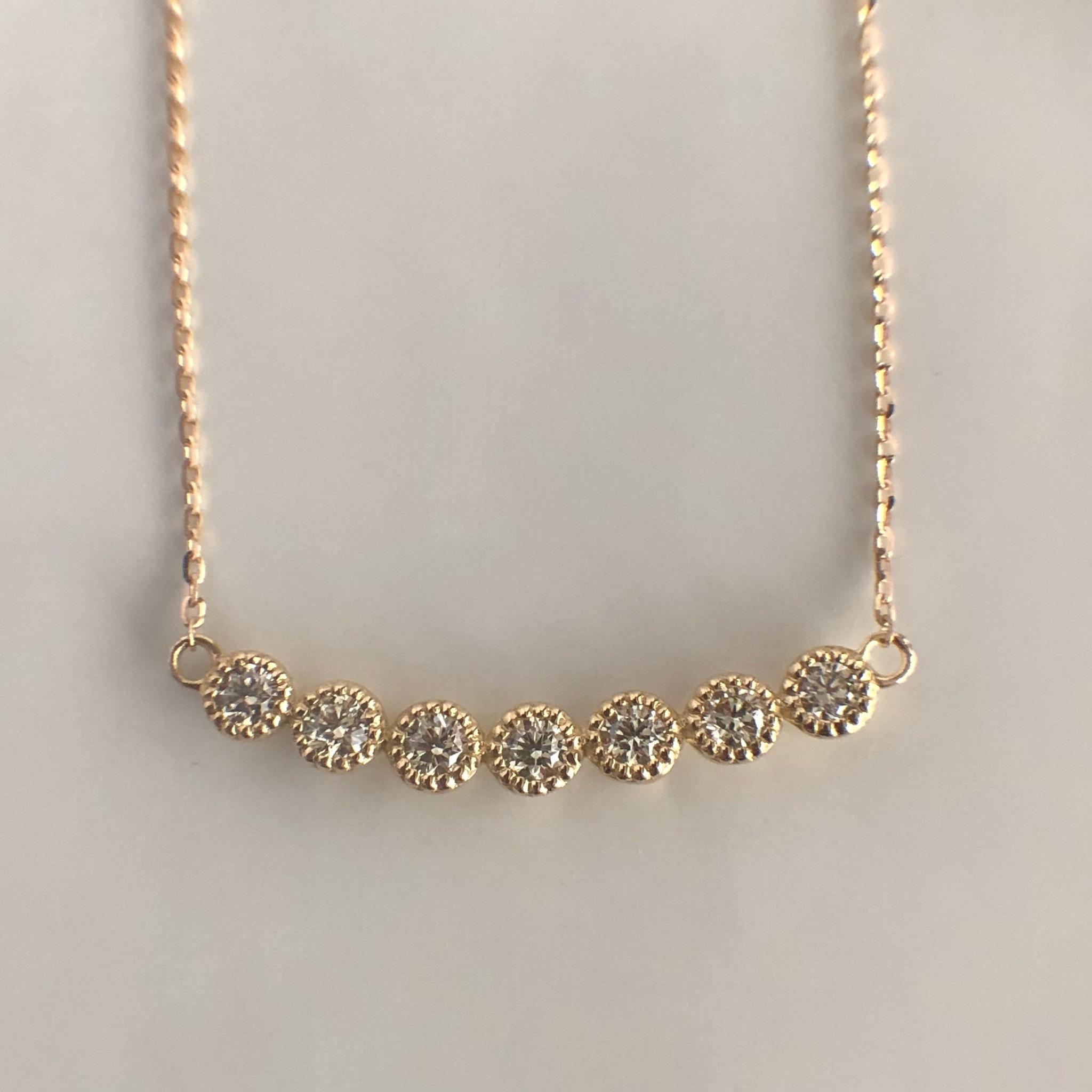 ミルグレイン ダイヤモンド バー ネックレス  0.22ct K18 イエローゴールド チェカ 鑑別書付