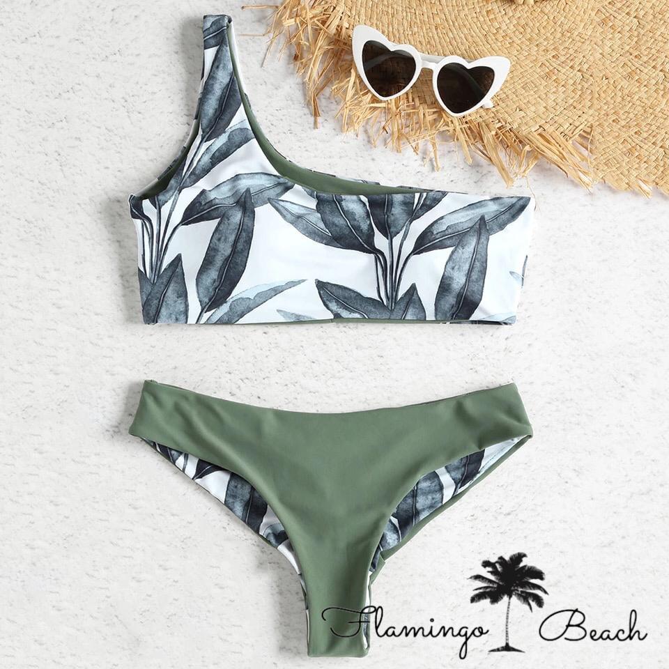 【FlamingoBeach】leaf oneshoulder bikini