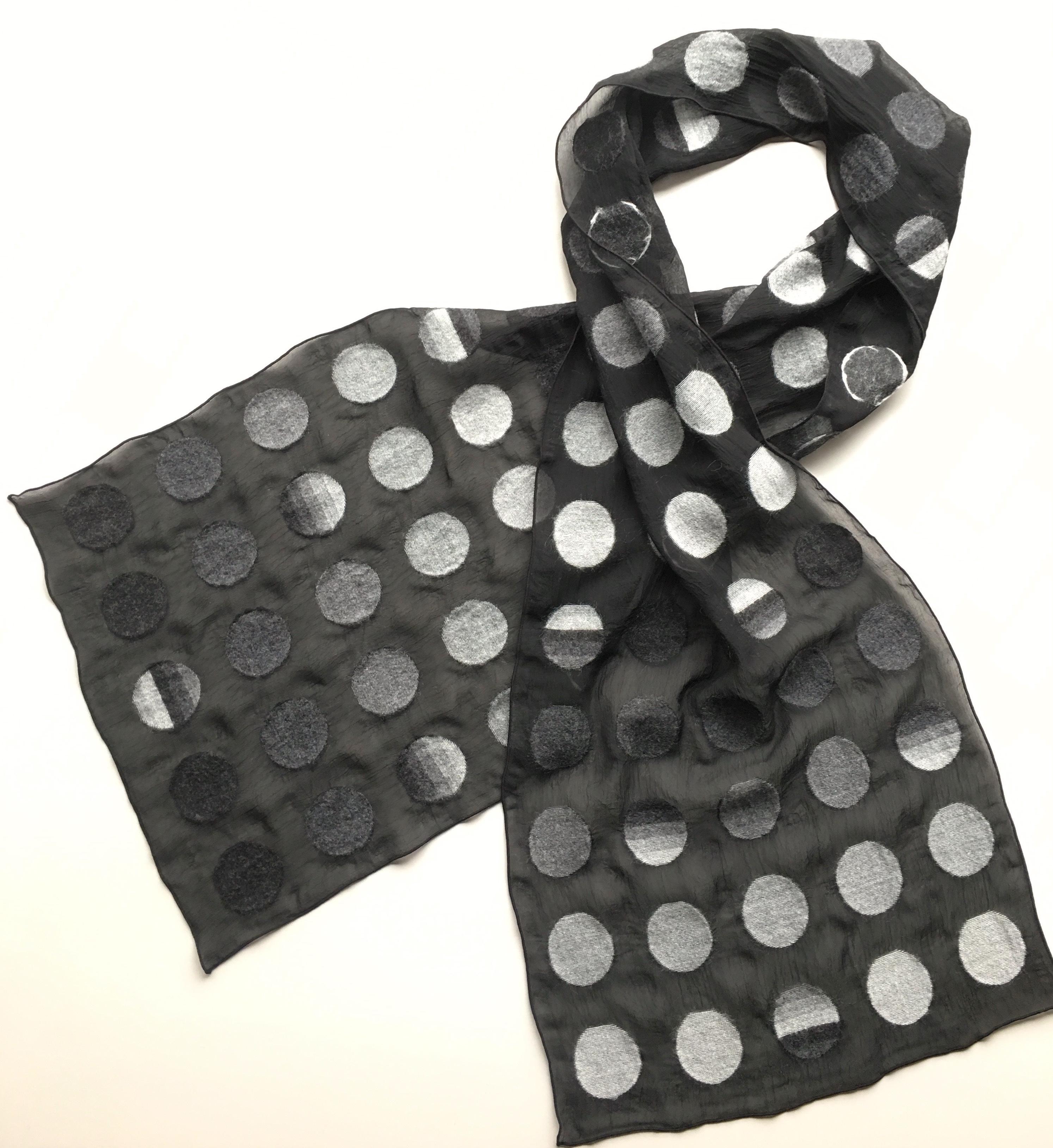 スカーフ ~DOT~  (ブラック×グレー)
