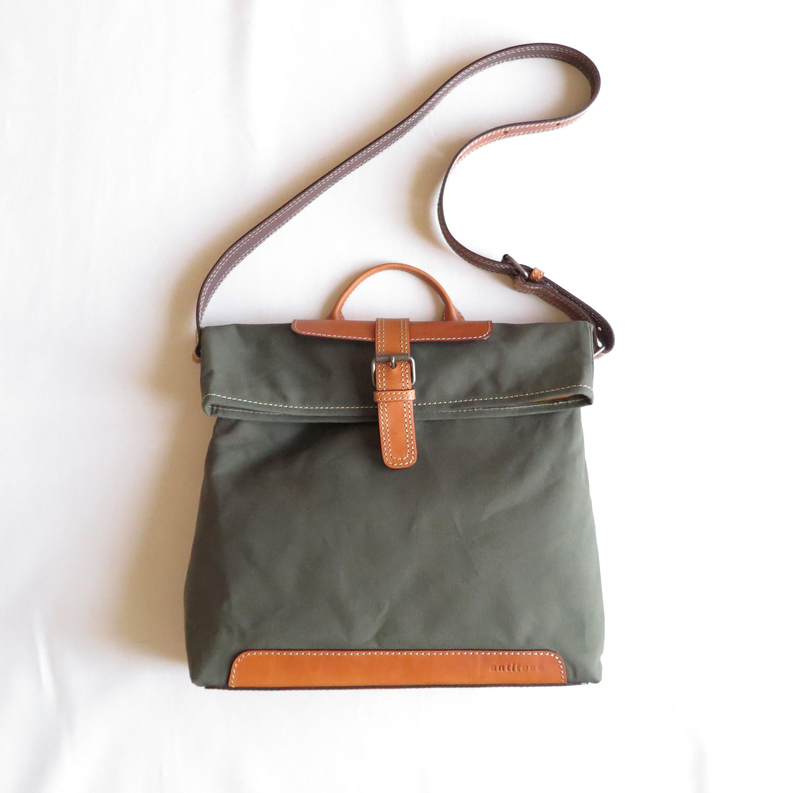 Paraffin canvas messenger bag OLIVE
