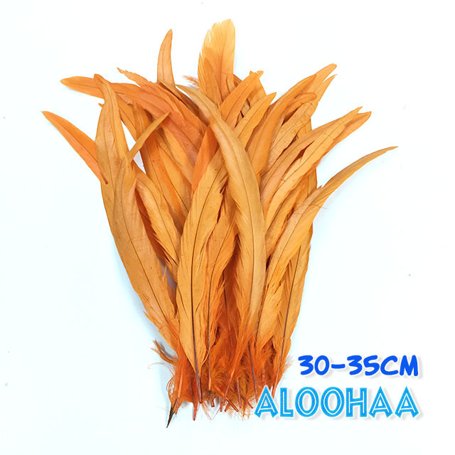 単色ロングフェザー 【オレンジ】30~35cm タヒチアン 衣装 材料 ルースターテール 染め 羽根