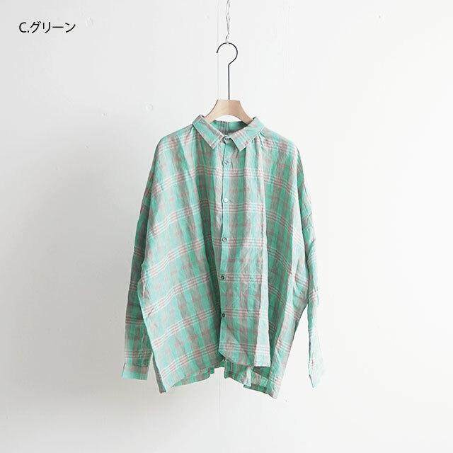 ICHIAntiquites イチアンティークス LINEN CHECK SHIRT リネンチェックシャツ (品番500303)