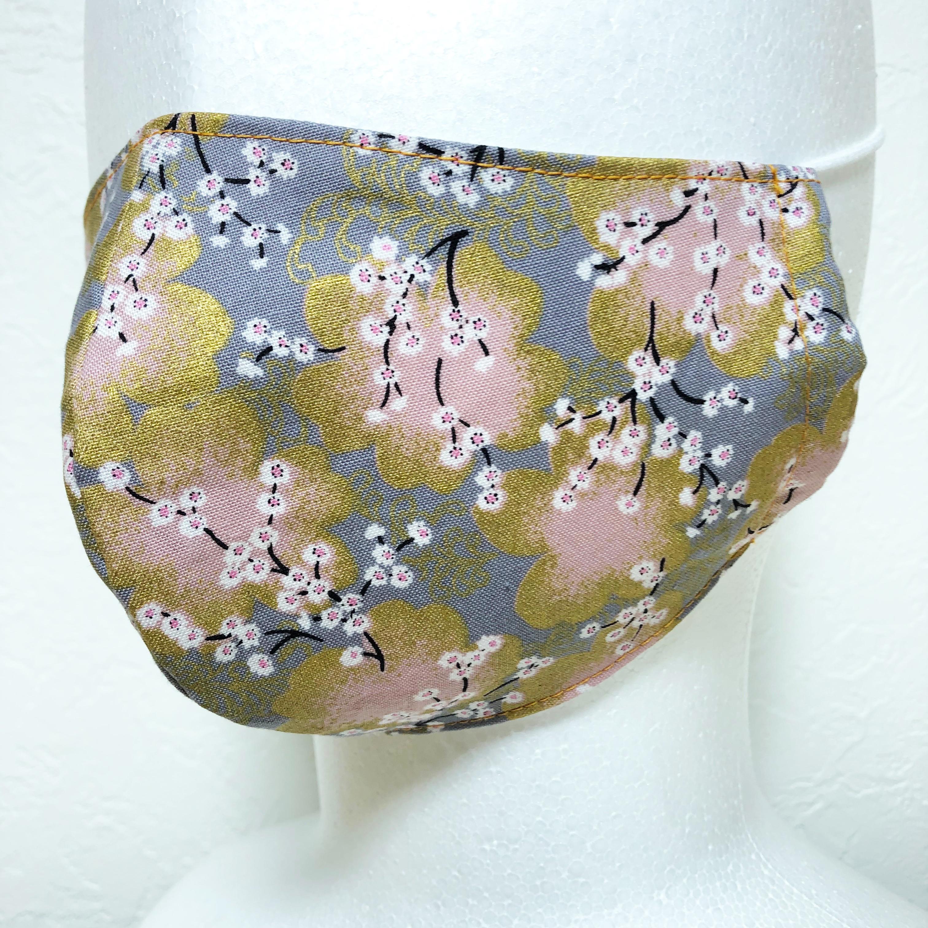 立体マスク 桜 和柄 布マスク 大人サイズ ゴム紐使用