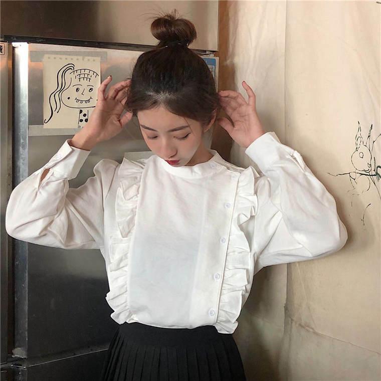 【送料無料】 女っぽブラウス♡ フリル ハイネック 大人可愛い ブラウス シャツ レトロ カジュアル