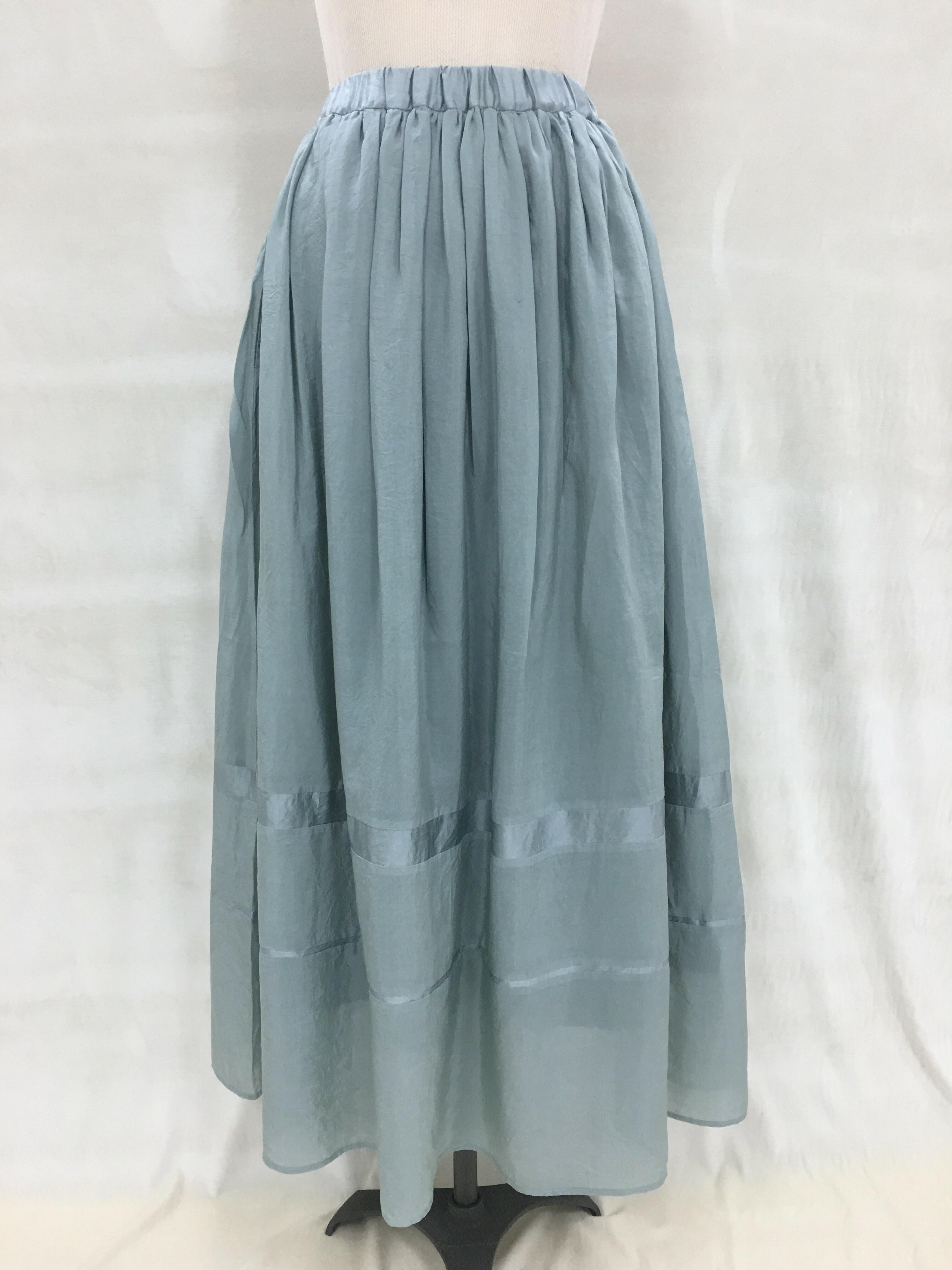 綿シルク  ロングスカート MALLOW-GREEN(マロウ染め)