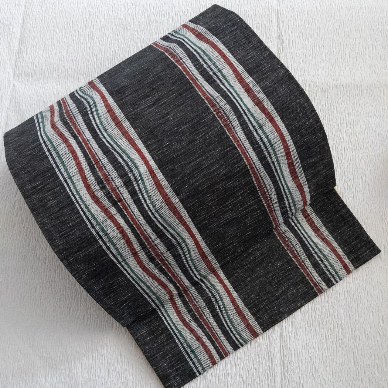 【グッチ風カラー】使用感数回程度 京袋帯 綿 よろけ縞織出し 墨黒×エンジ×グリーン
