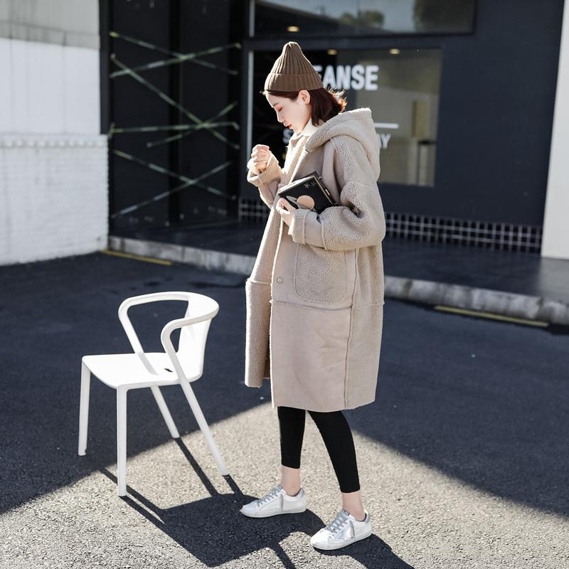 ムートン風 コート オーバーサイズ フード付き ロングコート