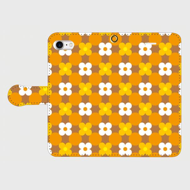 昭和デザイン花(白・橙・黄)/ iPhoneスマホケース(手帳型ケース)