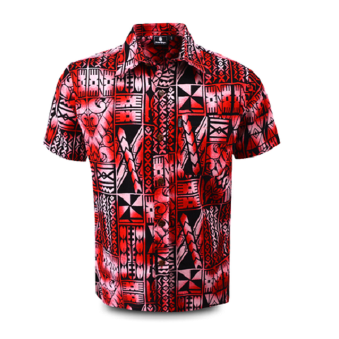 Aloha Shirt 2019 Tapa Red【Size:M】