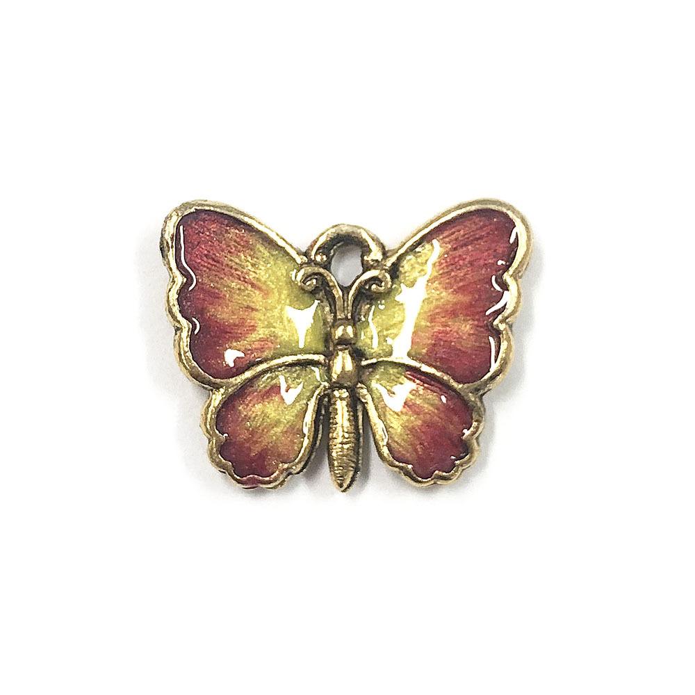 蝶 ハンドペイント ピンクイエロー
