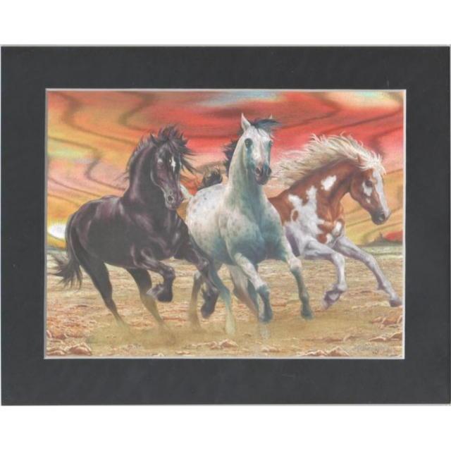 【アルミ彫刻画】三頭の野生馬[a447ms]