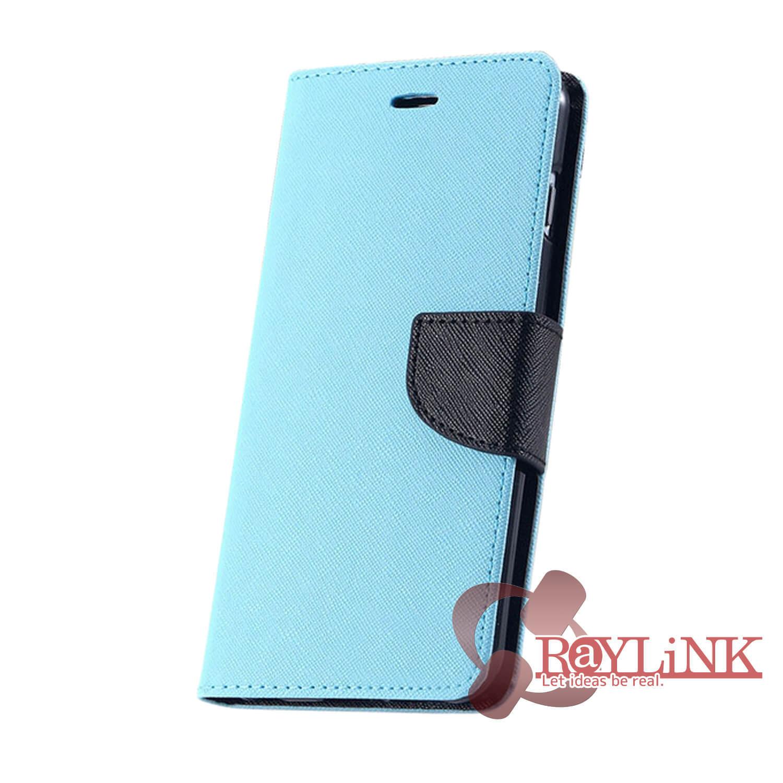 【スマホケース】Floveme iPhone7用二つ折りレザーケース 青x黒