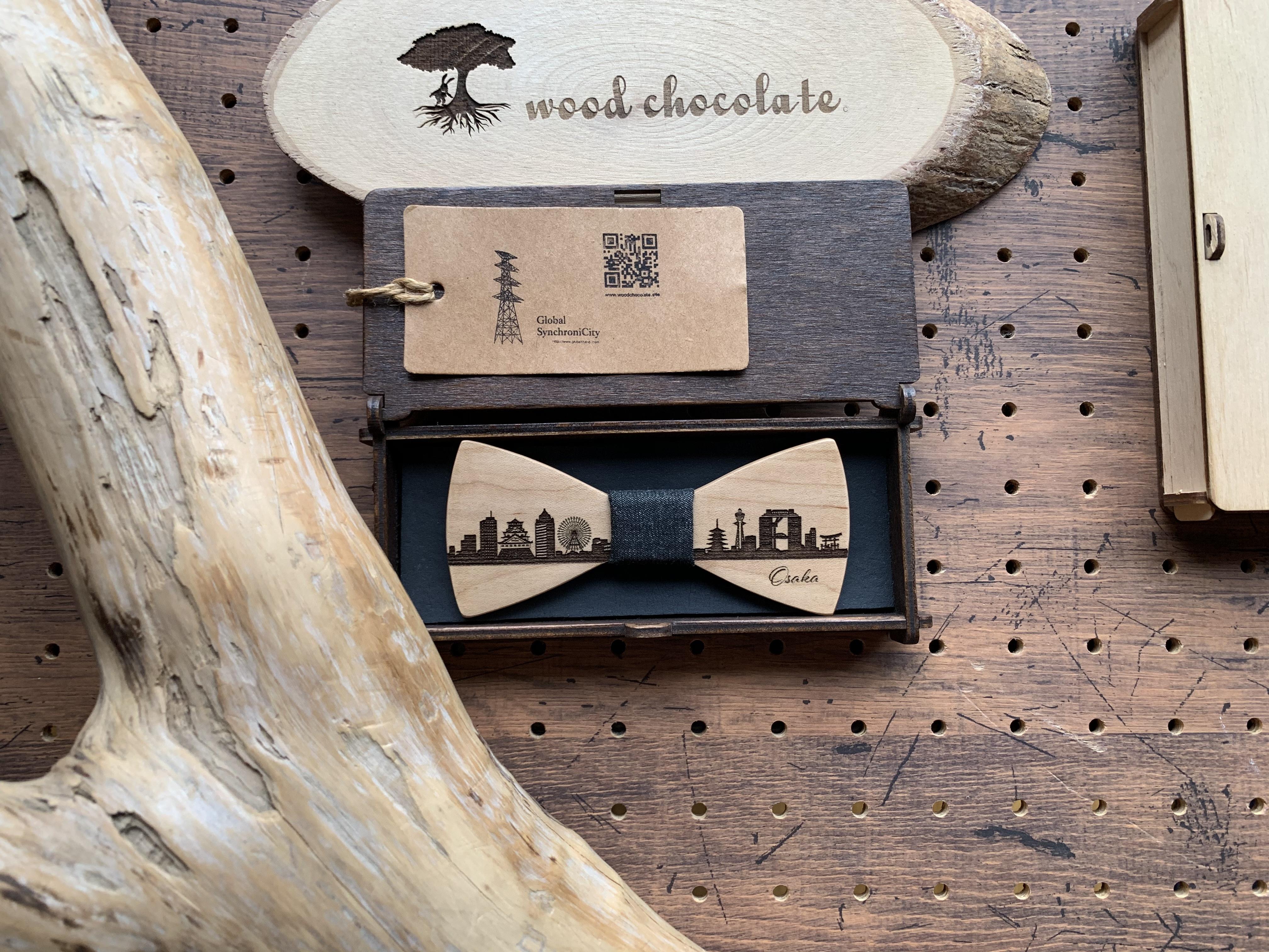 「大阪の街並み」木製 蝶ネクタイ #CityContrast Osaka - 画像3