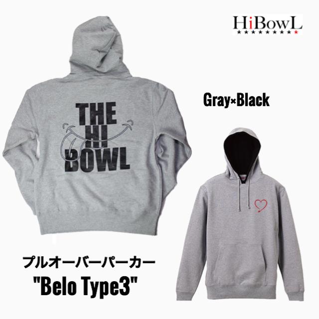"HiBOWL『ハイボール』HiBowL プルオーバーパーカー ""Belo Type3""グレー×ブラック"