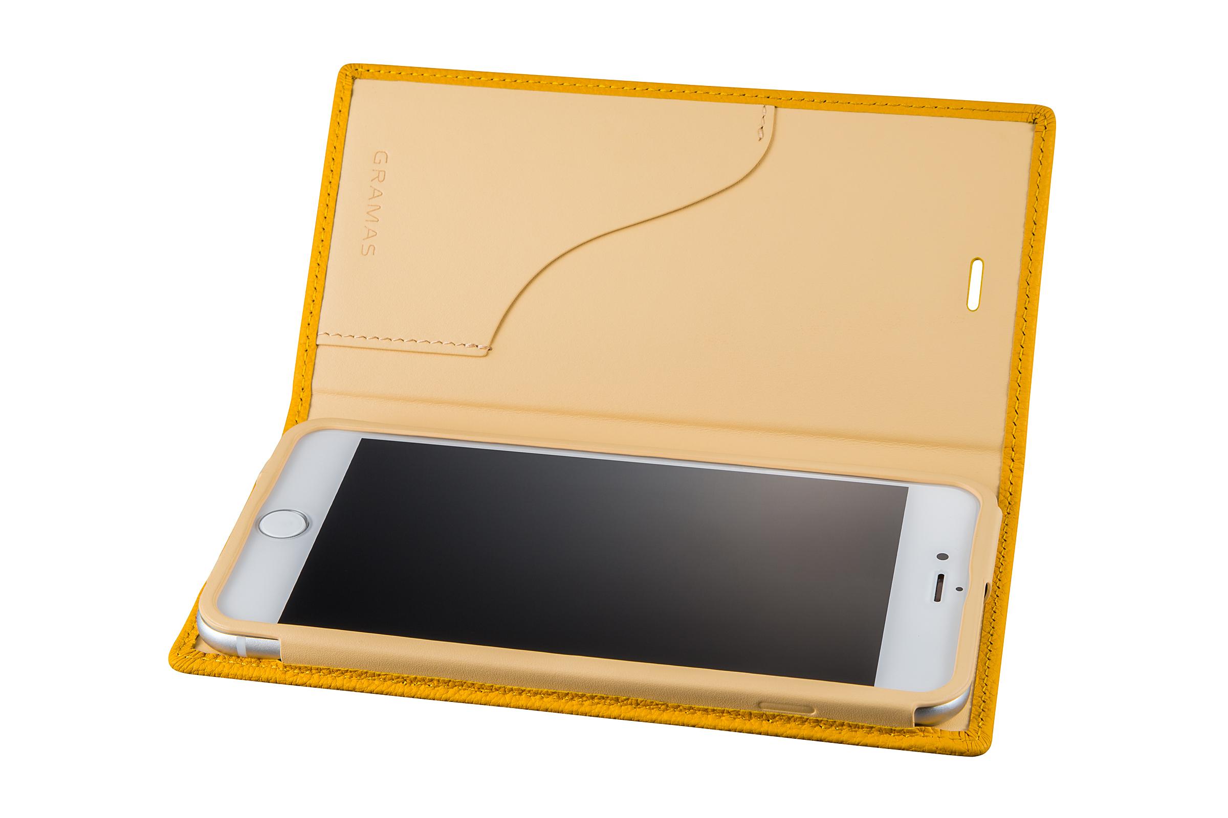 GRAMAS Shrunken-calf Full Leather Case for iPhone 7 Plus(Yellow) シュランケンカーフ 手帳型フルレザーケース - 画像3