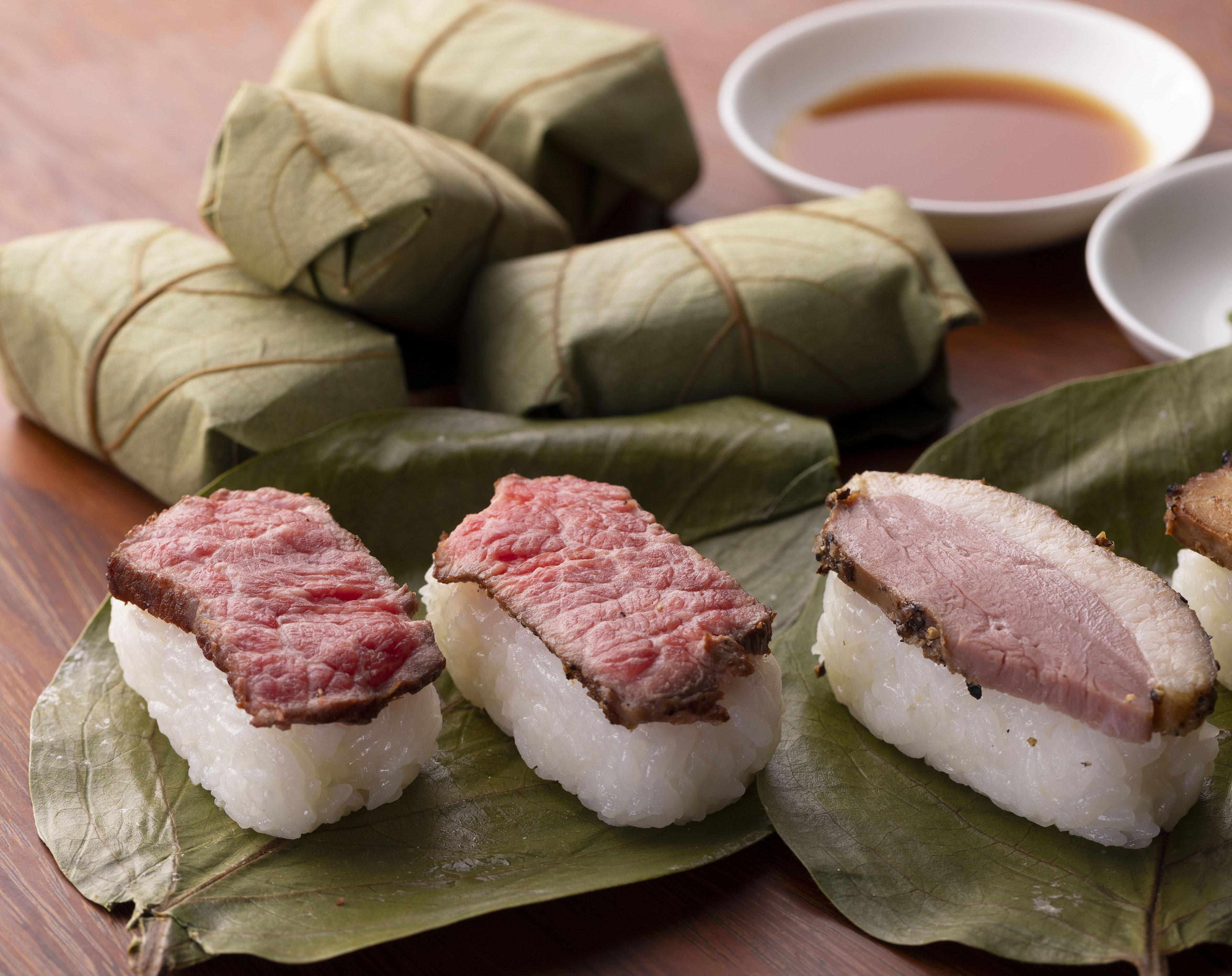 人気 お取り寄せグルメ 美味しい 柿の葉肉寿司(牛4 ,鴨3 計7個入)1箱