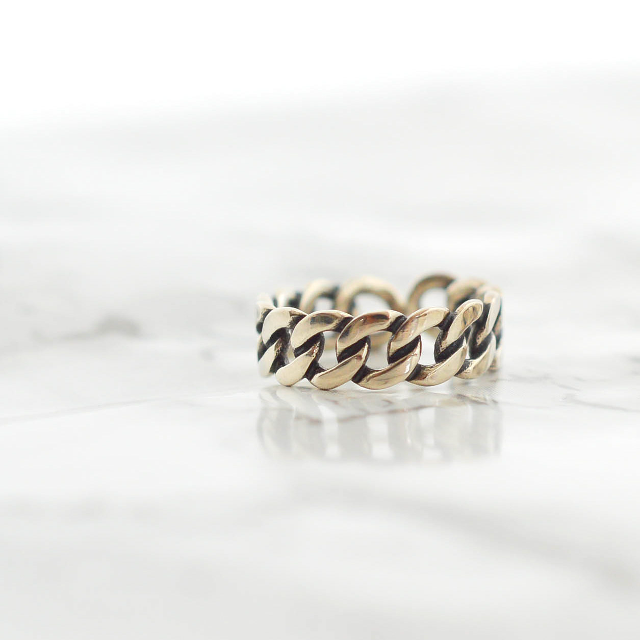 Oxidized small chain Silver925 Ring