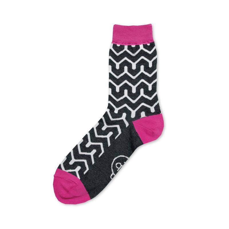 紬POP|靴下|毘沙門山形|ピンク 《UNISEX》