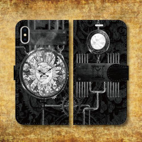 スチームパンク調/タイムマシン/機械/時計/歯車/レトロ/ホワイト/iPhoneスマホケース(手帳型ケース)