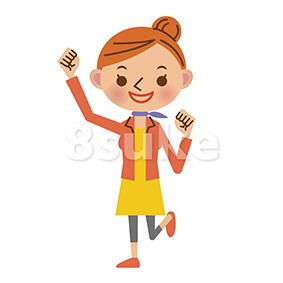 イラスト素材:ガッツポーズをする若い女性(ベクター・JPG)