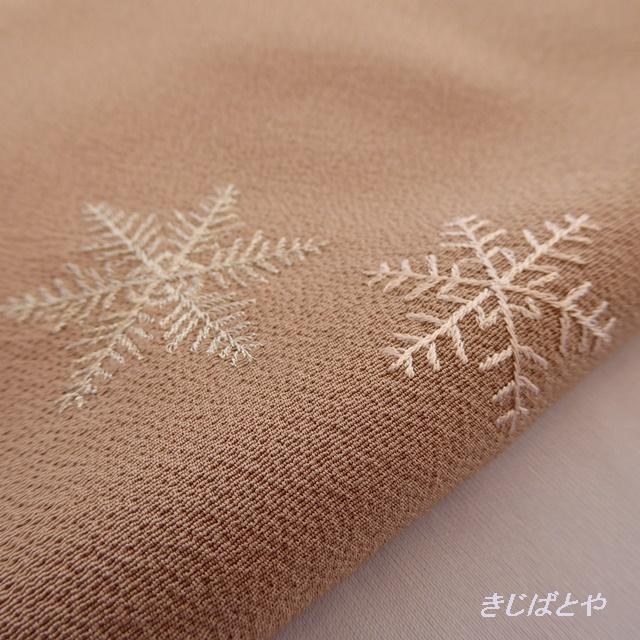 正絹ちりめん 雪の結晶の帯揚げ 飴色
