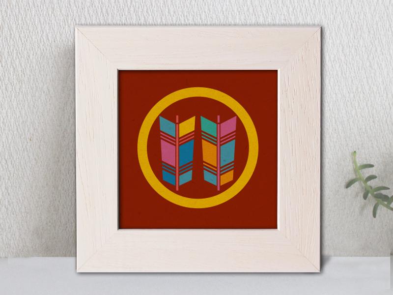 「丸に並び矢」家紋アートフレーム カラフル 家紋額縁 リビングルームに合う家紋 敬老の日、初節句 結婚、出産、新築祝いに
